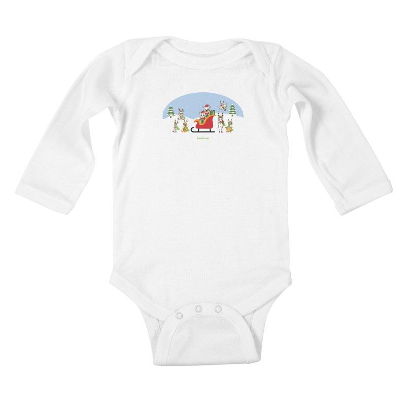 Santa Paws & Reindeer Kids Baby Longsleeve Bodysuit by PawBoost's Shop