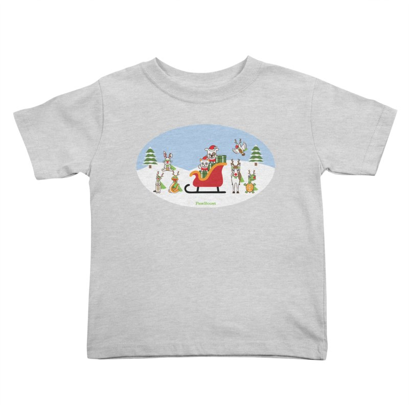 Santa Paws & Reindeer Kids Toddler T-Shirt by PawBoost's Shop