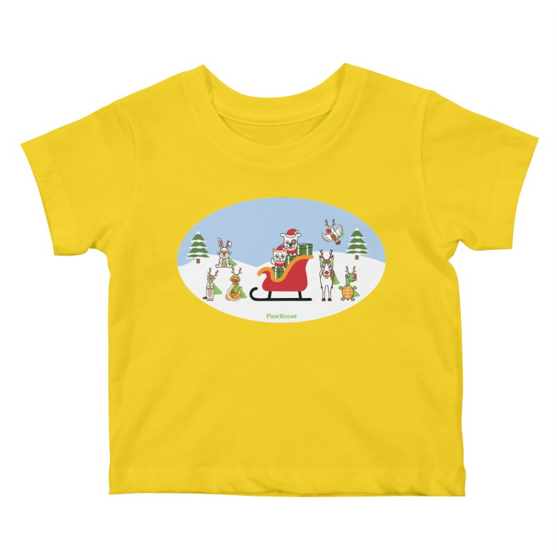 Santa Paws & Reindeer Kids Baby T-Shirt by PawBoost's Shop
