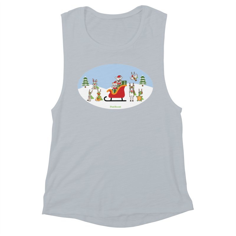 Santa Paws & Reindeer Women's Muscle Tank by PawBoost's Shop