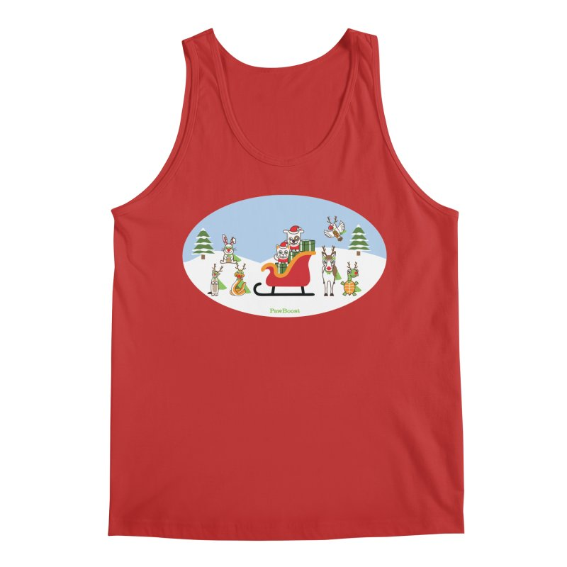 Santa Paws & Reindeer Men's Regular Tank by PawBoost's Shop