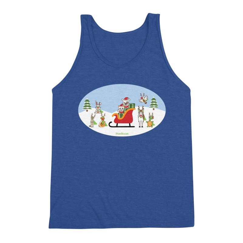 Santa Paws & Reindeer Men's Triblend Tank by PawBoost's Shop