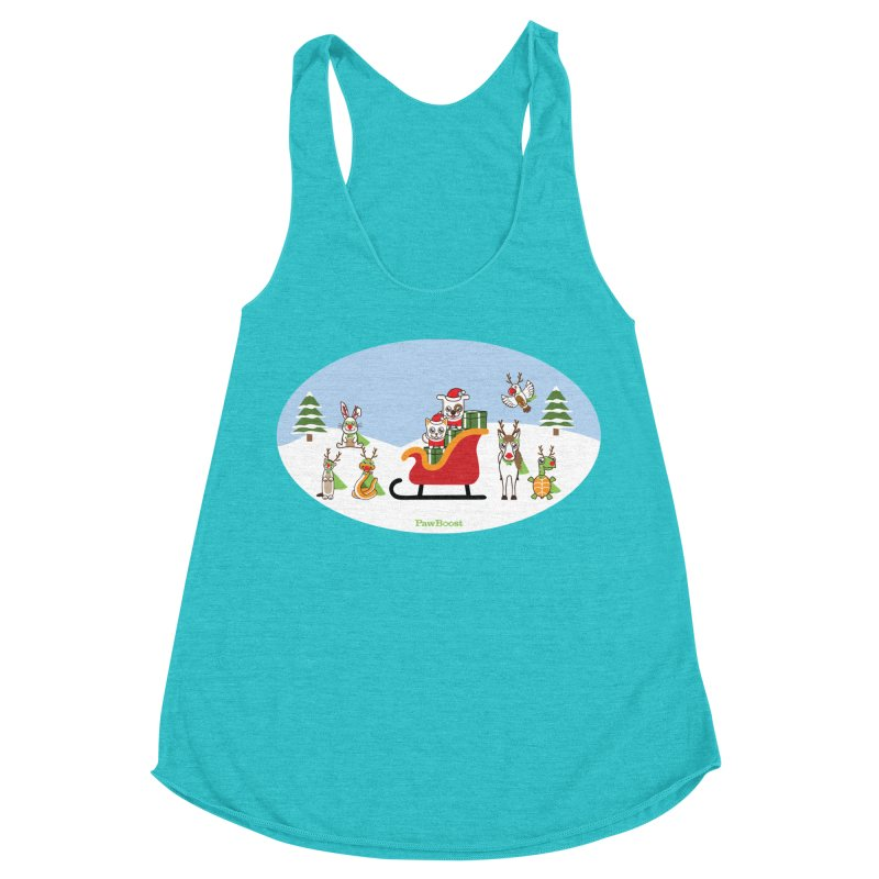 Santa Paws & Reindeer Women's Racerback Triblend Tank by PawBoost's Shop