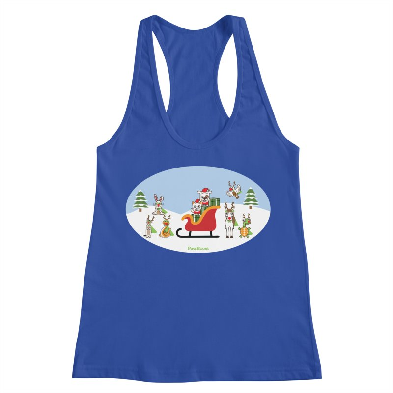 Santa Paws & Reindeer Women's Racerback Tank by PawBoost's Shop