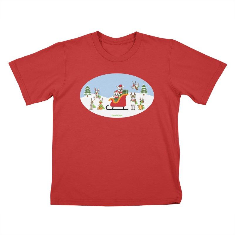Santa Paws & Reindeer Kids T-Shirt by PawBoost's Shop