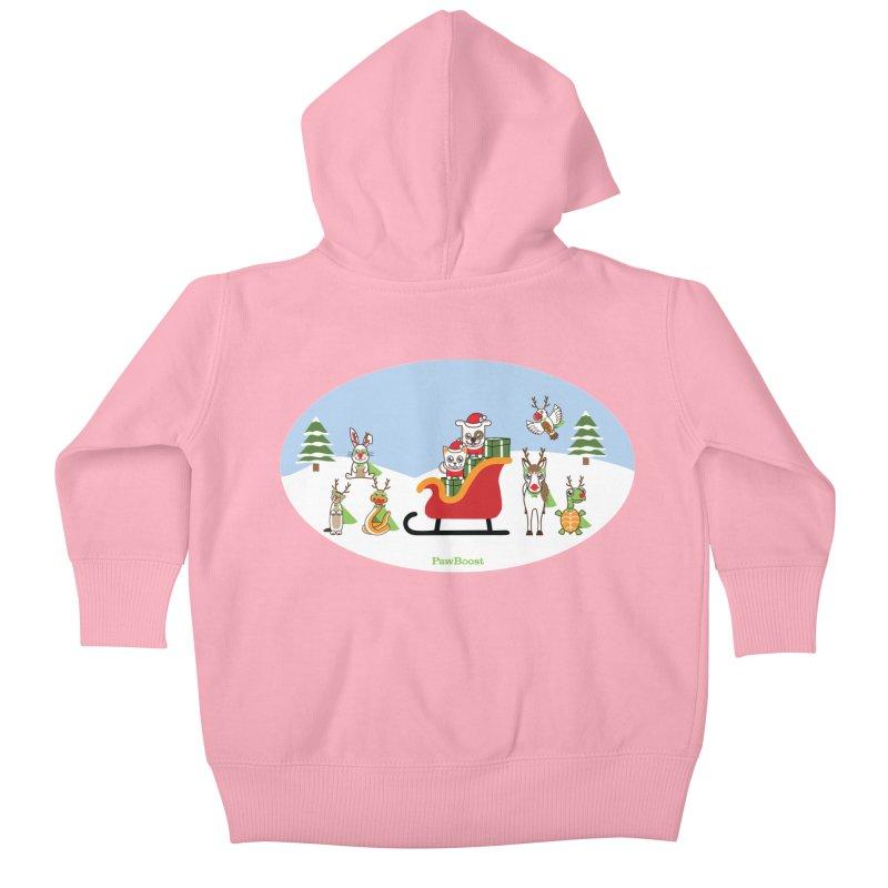 Santa Paws & Reindeer Kids Baby Zip-Up Hoody by PawBoost's Shop