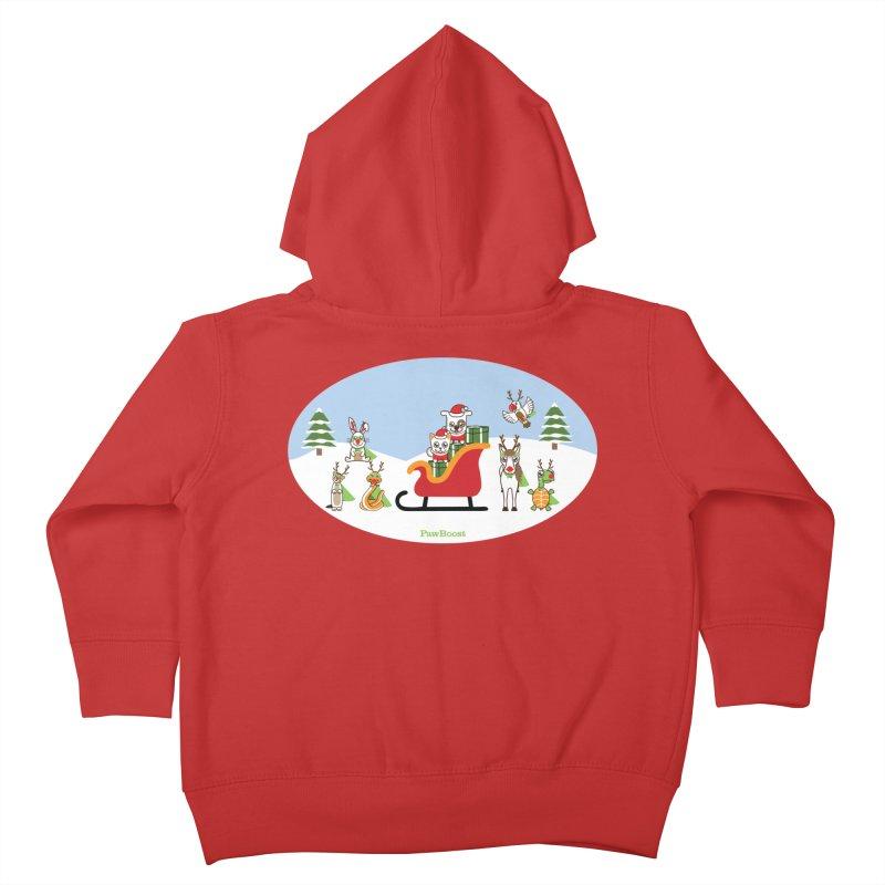 Santa Paws & Reindeer Kids Toddler Zip-Up Hoody by PawBoost's Shop