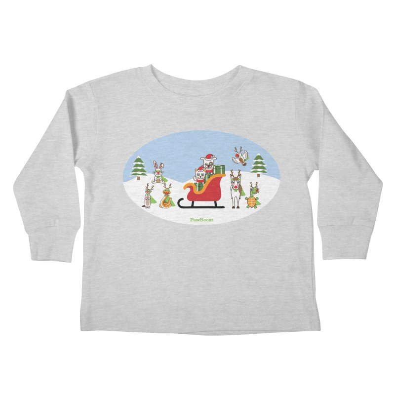Santa Paws & Reindeer Kids Toddler Longsleeve T-Shirt by PawBoost's Shop
