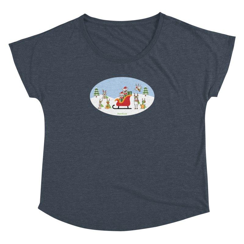 Santa Paws & Reindeer Women's Dolman Scoop Neck by PawBoost's Shop