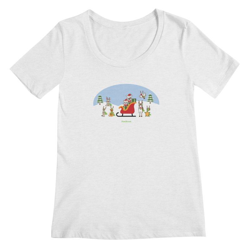 Santa Paws & Reindeer Women's Regular Scoop Neck by PawBoost's Shop