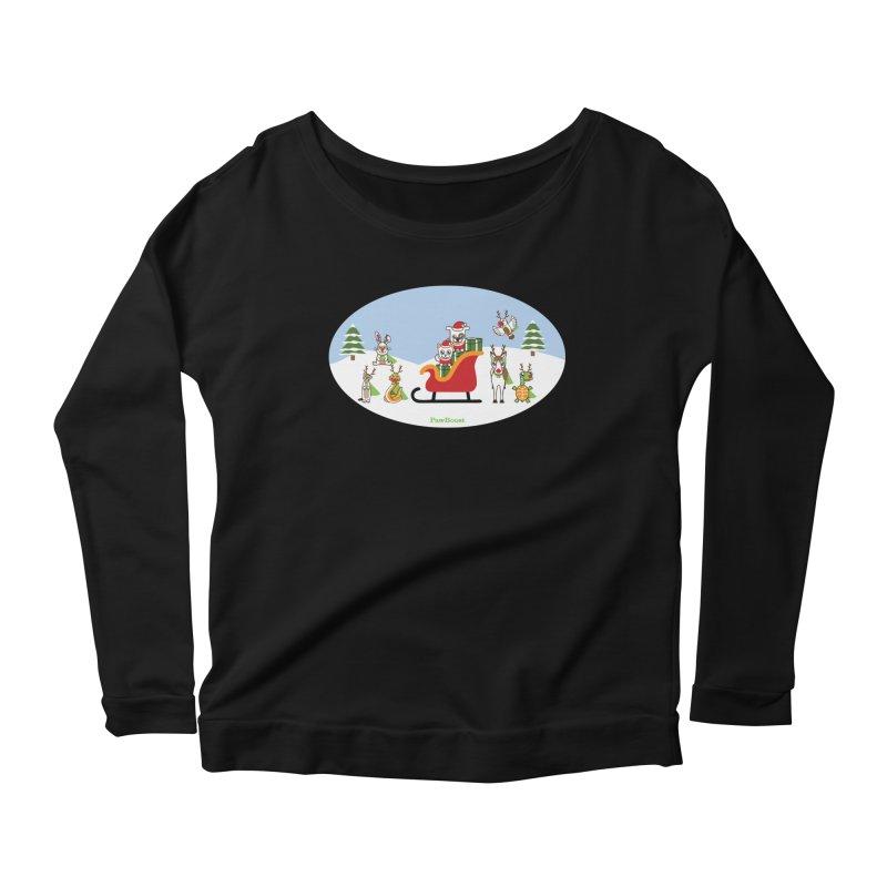Santa Paws & Reindeer Women's Scoop Neck Longsleeve T-Shirt by PawBoost's Shop