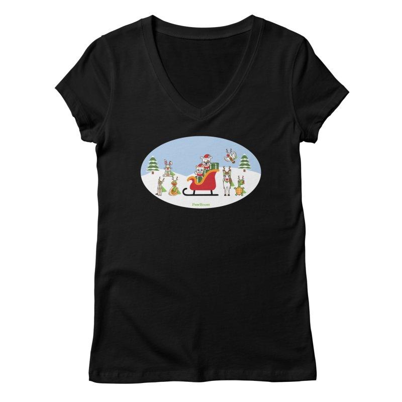 Santa Paws & Reindeer Women's Regular V-Neck by PawBoost's Shop