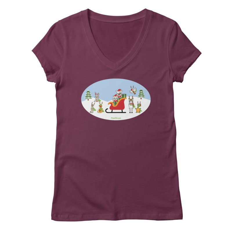 Santa Paws & Reindeer Women's Regular V-Neck by PawBoost's Shop