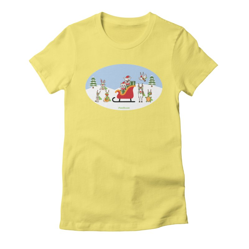 Santa Paws & Reindeer Women's Fitted T-Shirt by PawBoost's Shop