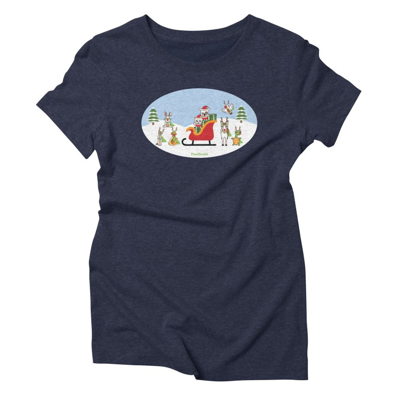 Santa Paws & Reindeer Women's Triblend T-Shirt by PawBoost's Shop