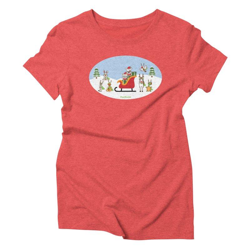 Santa Paws & Reindeer Women's Triblend T-Shirt by PawBoost's Shop