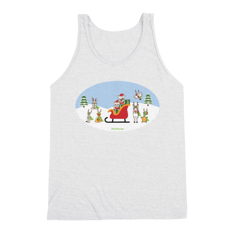 Santa Paws & Reindeer Men's Triblend Tank by PawBoost's Shop