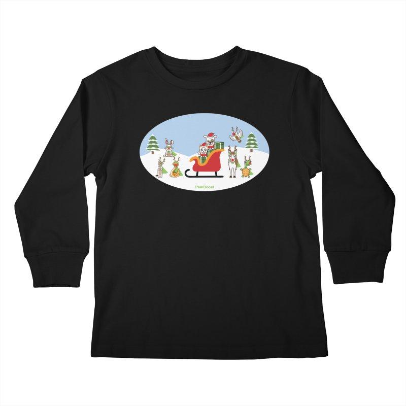 Santa Paws & Reindeer Kids Longsleeve T-Shirt by PawBoost's Shop