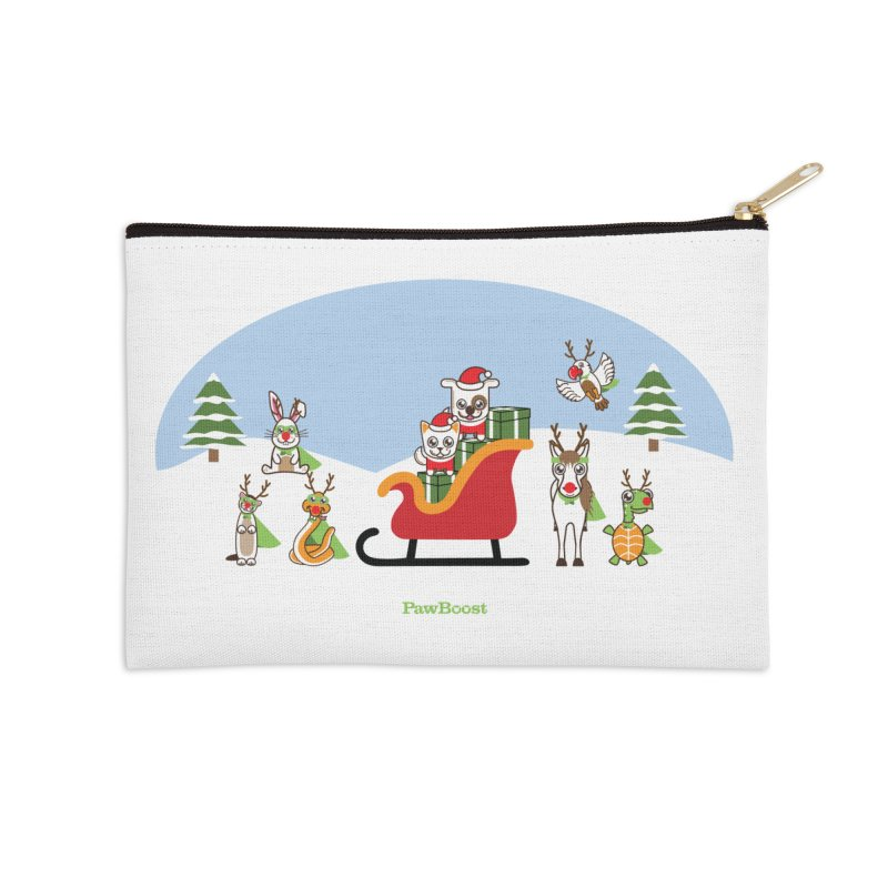Santa Paws & Reindeer Accessories Zip Pouch by PawBoost's Shop