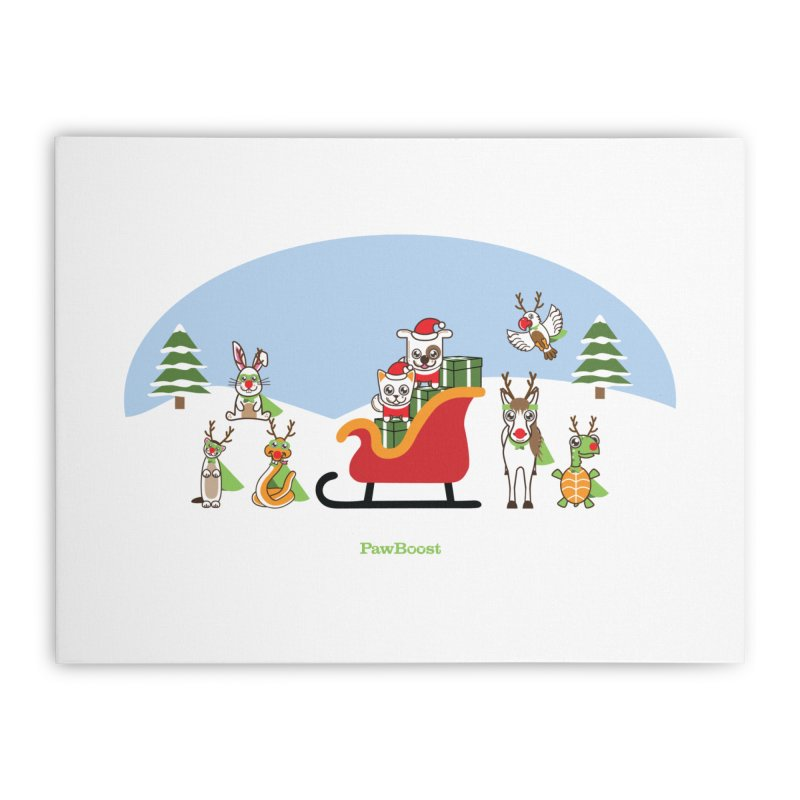 Santa Paws & Reindeer Home Stretched Canvas by PawBoost's Shop
