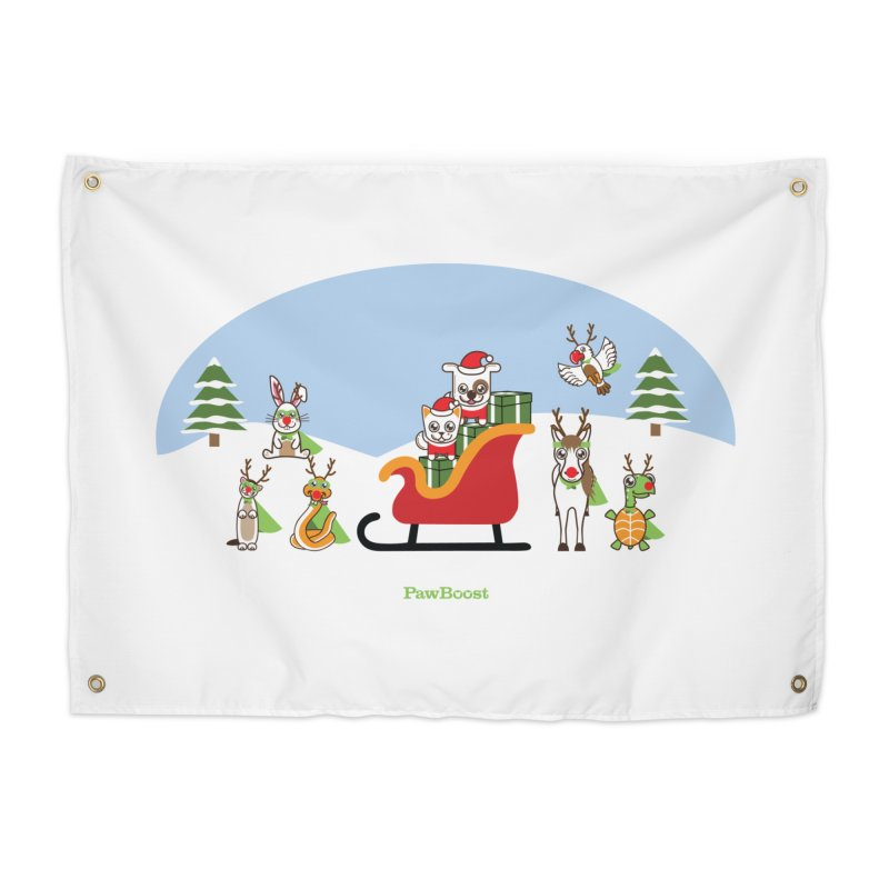 Santa Paws & Reindeer Home Tapestry by PawBoost's Shop