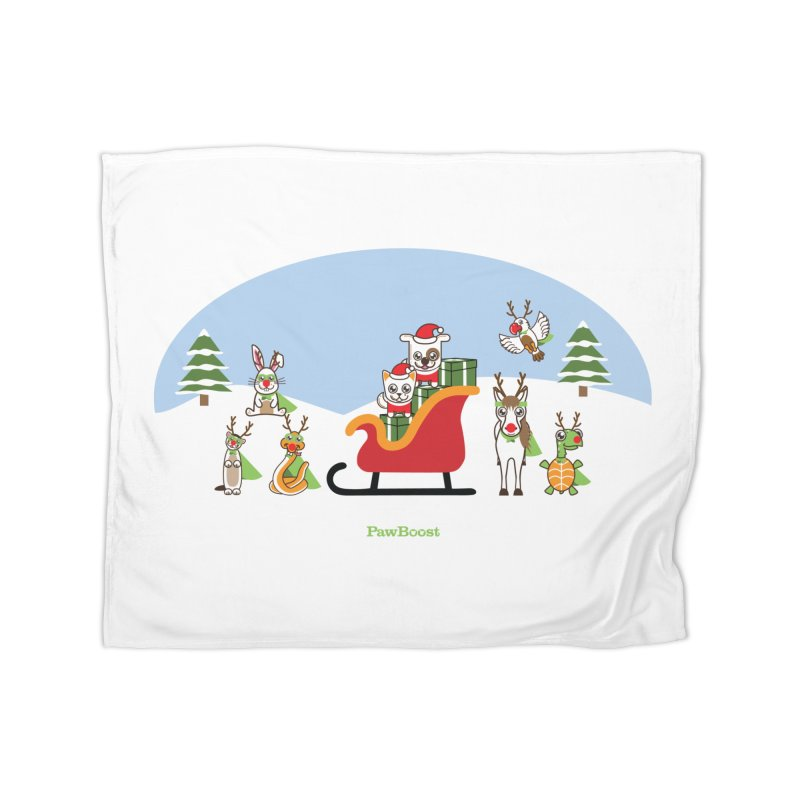 Santa Paws & Reindeer Home Fleece Blanket Blanket by PawBoost's Shop