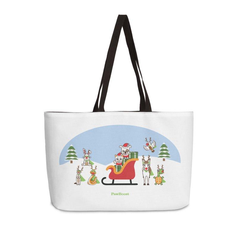 Santa Paws & Reindeer Accessories Weekender Bag Bag by PawBoost's Shop