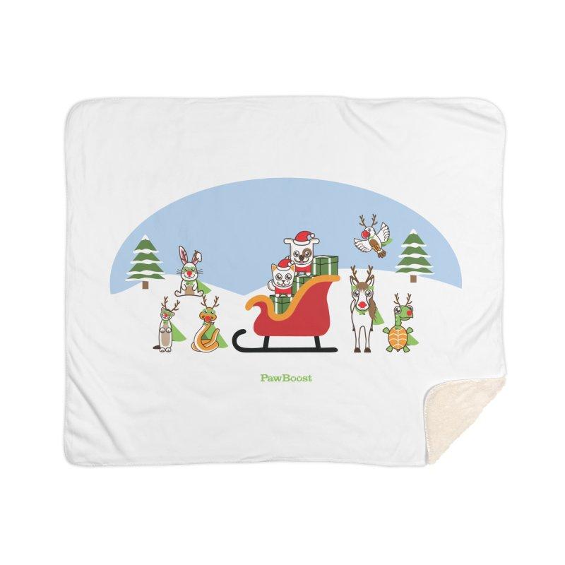 Santa Paws & Reindeer Home Sherpa Blanket Blanket by PawBoost's Shop