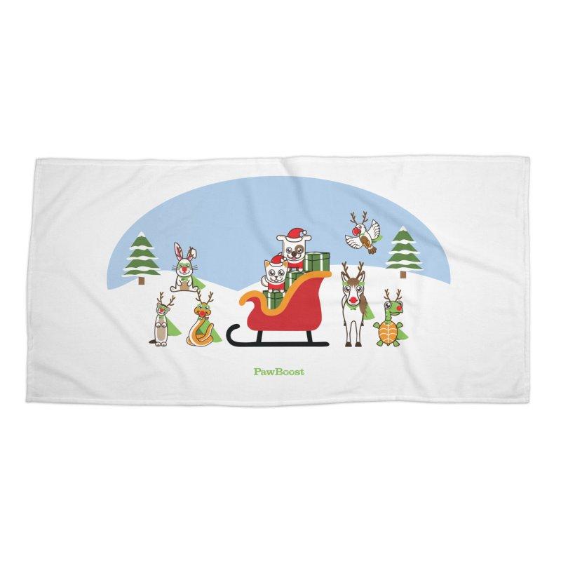 Santa Paws & Reindeer Accessories Beach Towel by PawBoost's Shop
