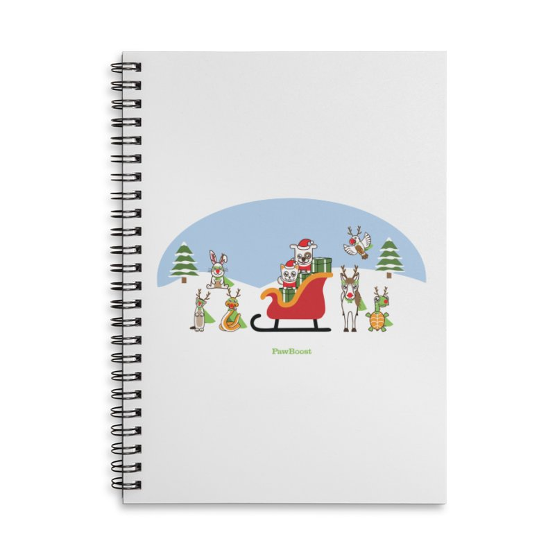 Santa Paws & Reindeer Accessories Lined Spiral Notebook by PawBoost's Shop