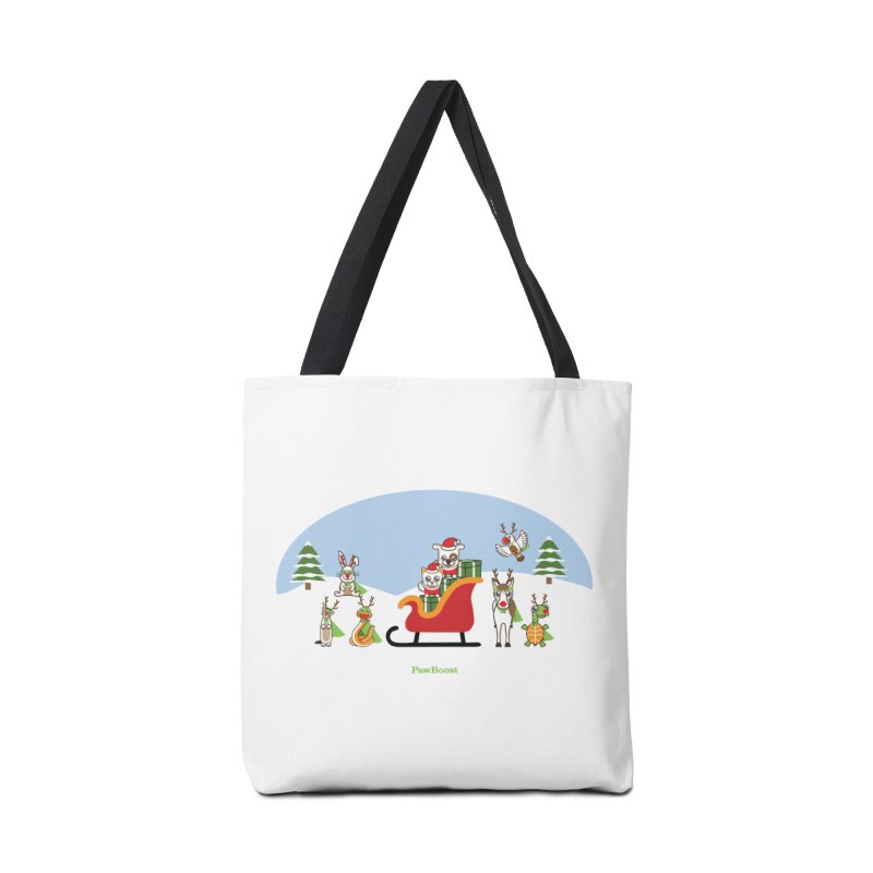 Santa Paws & Reindeer Accessories Tote Bag Bag by PawBoost's Shop
