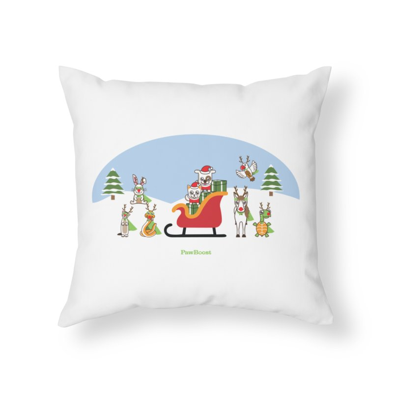 Santa Paws & Reindeer Home Throw Pillow by PawBoost's Shop