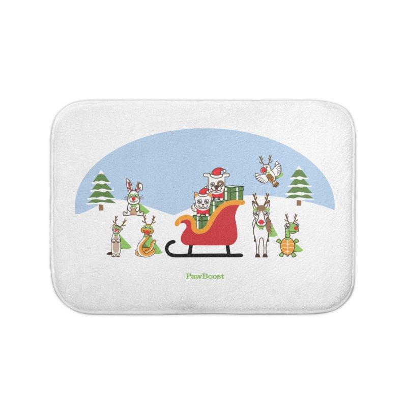 Santa Paws & Reindeer Home Bath Mat by PawBoost's Shop