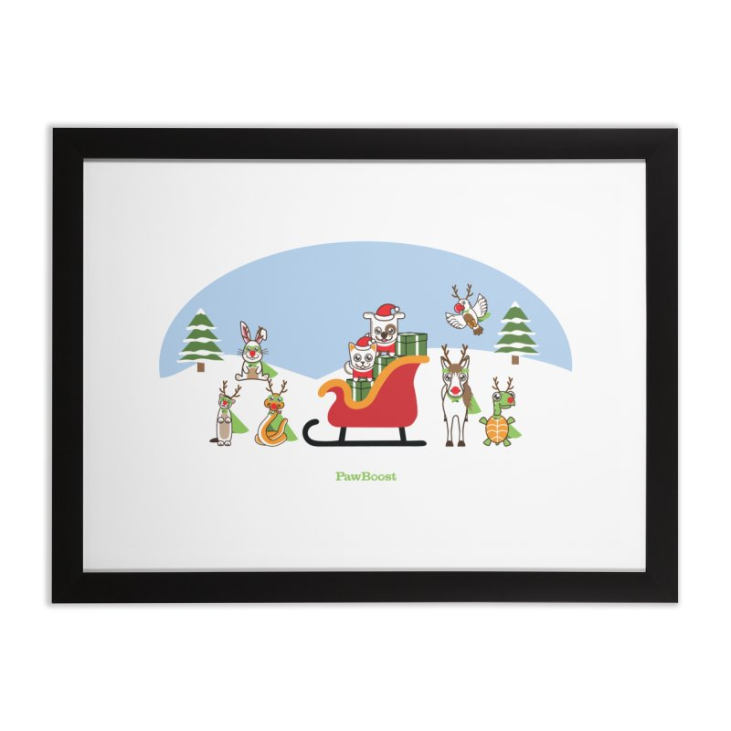 Santa Paws & Reindeer Home Framed Fine Art Print by PawBoost's Shop