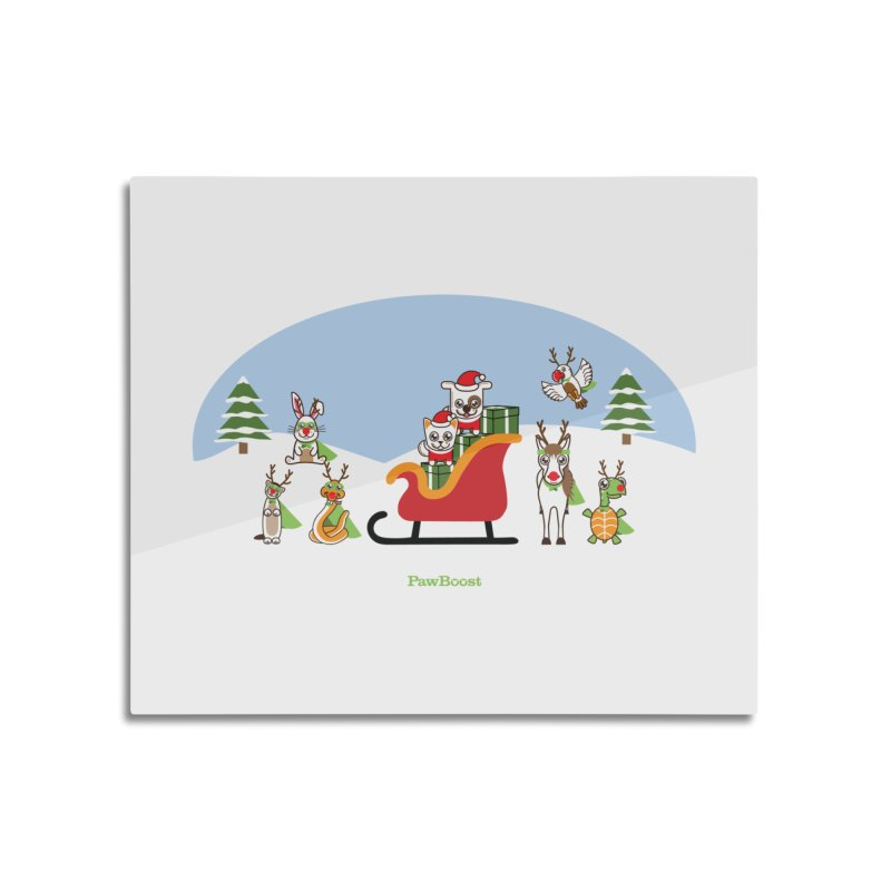 Santa Paws & Reindeer Home Mounted Aluminum Print by PawBoost's Shop