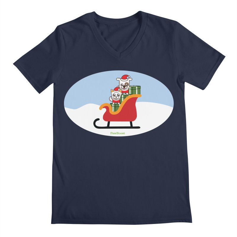 Santa Paws Men's Regular V-Neck by PawBoost's Shop