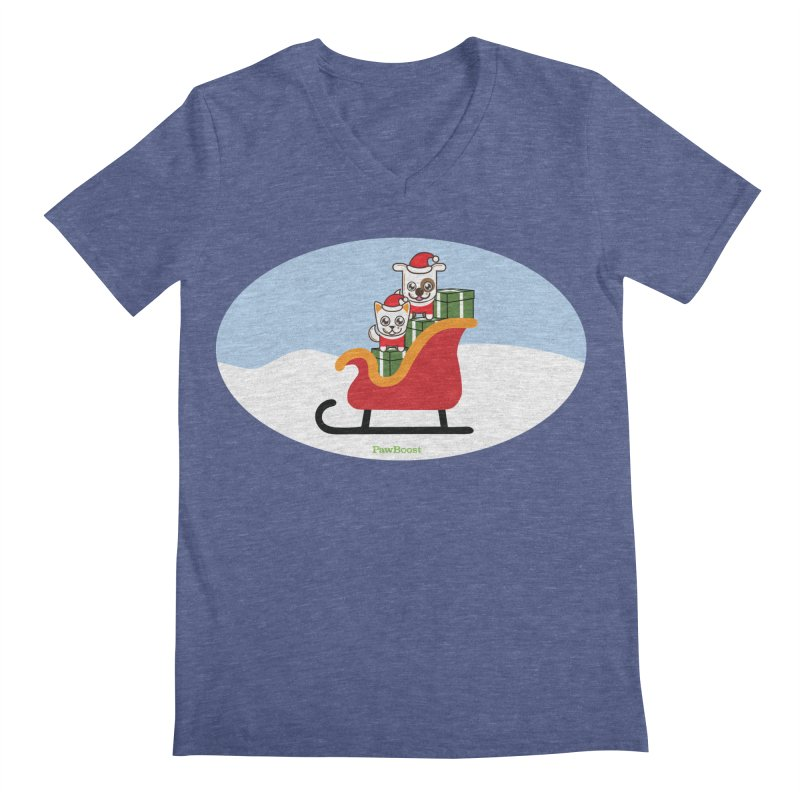 Santa Paws Men's Regular V-Neck by PawBoost's Shop