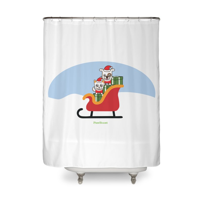 Santa Paws Home Shower Curtain by PawBoost's Shop