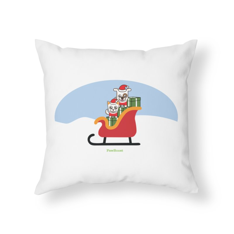 Santa Paws Home Throw Pillow by PawBoost's Shop