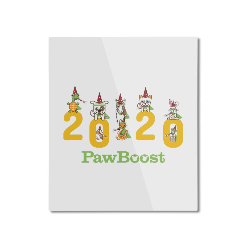 Hello 2020! Home Mounted Aluminum Print by PawBoost's Shop