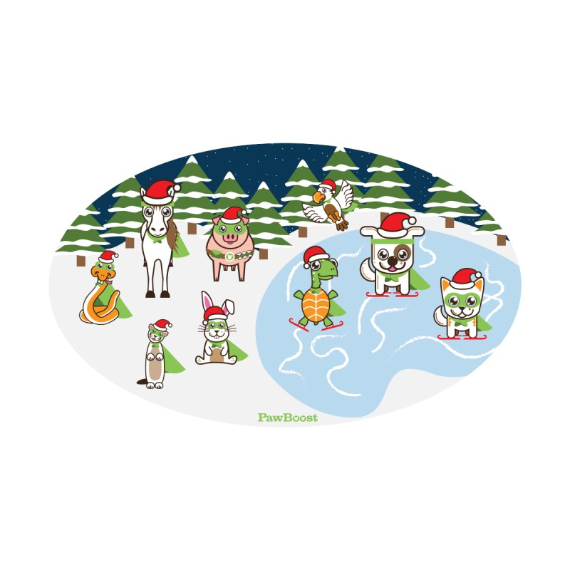 Holiday Frozen Pond Kids T-Shirt by PawBoost's Shop