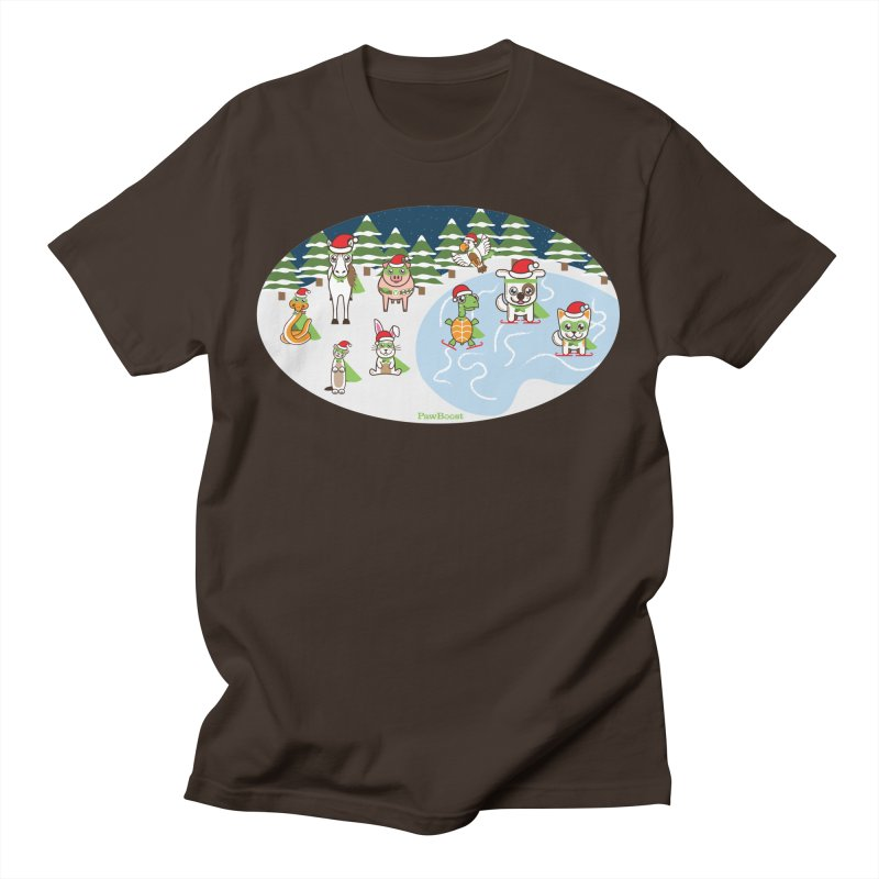 Holiday Frozen Pond Men's T-Shirt by PawBoost's Shop