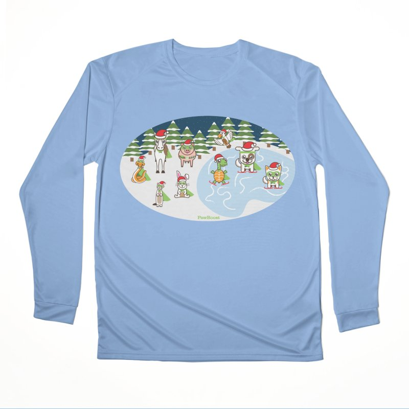 Holiday Frozen Pond Men's Longsleeve T-Shirt by PawBoost's Shop