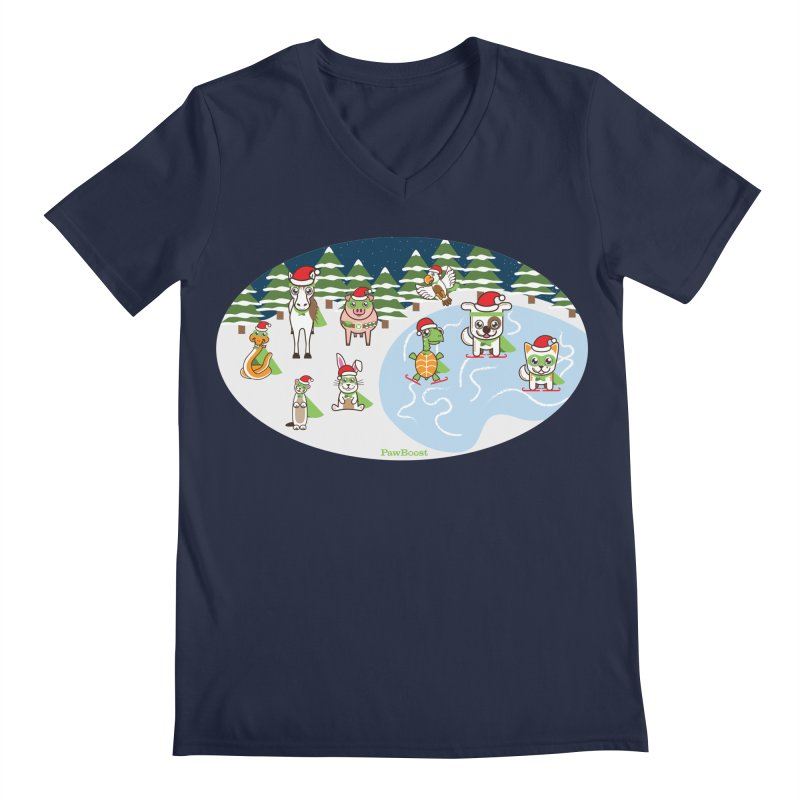 Holiday Frozen Pond Men's V-Neck by PawBoost's Shop