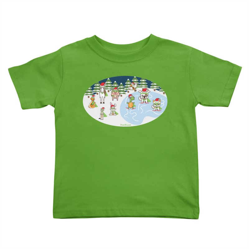 Holiday Frozen Pond Kids Toddler T-Shirt by PawBoost's Shop
