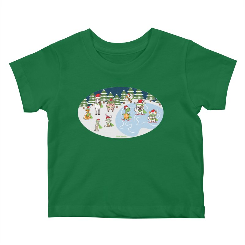 Holiday Frozen Pond Kids Baby T-Shirt by PawBoost's Shop