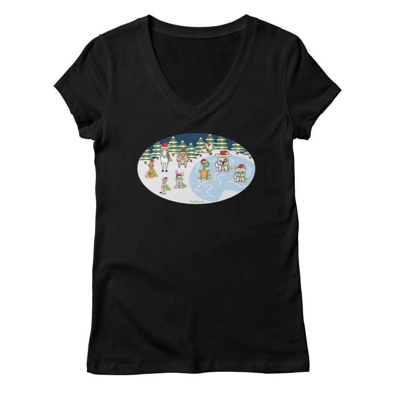 Holiday Frozen Pond Women's V-Neck by PawBoost's Shop