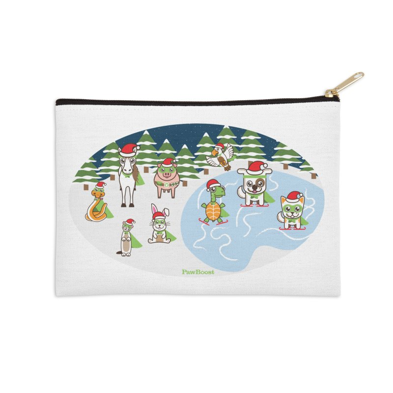Holiday Frozen Pond Accessories Zip Pouch by PawBoost's Shop