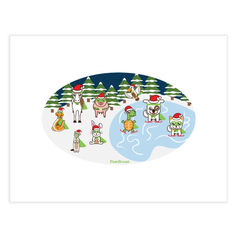 Holiday Frozen Pond Home Fine Art Print by PawBoost's Shop
