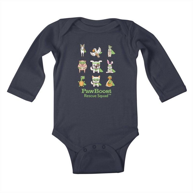 Rescue Squad (grid) Kids Baby Longsleeve Bodysuit by PawBoost's Shop